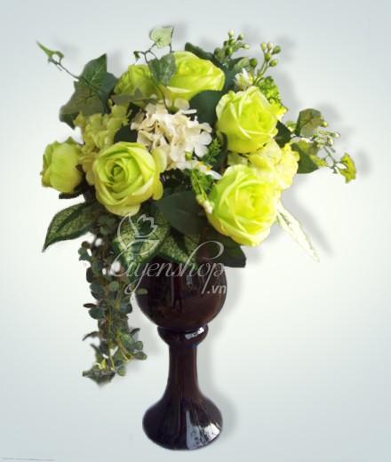 Hoa lụa, hoa giả Uyên shop, Hoa hồng xanh lọ cao