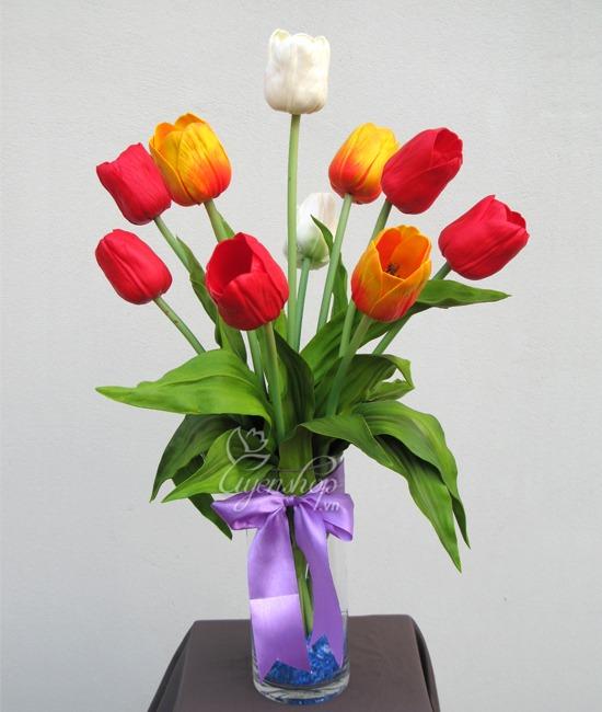 tulip - hoa lua - hoa nghe thuat - uyen shop