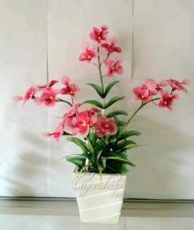 Hoa lụa, hoa giả Uyên shop, Chậu lan hồng