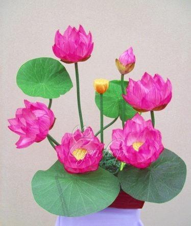 Hoa lụa, hoa giả Uyên shop, Chậu sen lớn