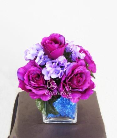 Hoa lụa, hoa giả Uyên shop, Hoa Hồng Tím