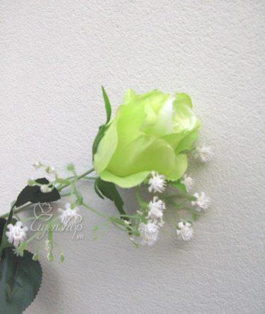 Hoa lụa, hoa giả Uyên shop, Hồng xanh cành