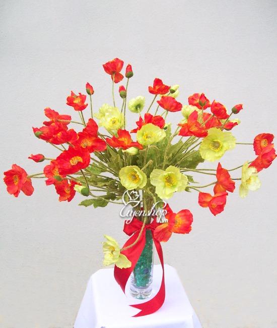 Hoa lụa, hoa giả Uyên shop, Cách làm một bình hoa voan dễ thương
