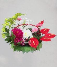 Hoa lụa, hoa giả Uyên shop, Giỏ hoa Yêu thương