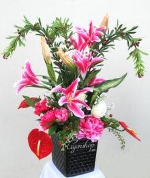 Hoa lụa, hoa giả Uyên shop, Chậu hoa Vạn Tuế