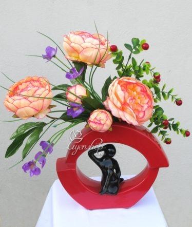 Hoa lụa, hoa giả Uyên shop, Nghệ thuật với hoa Trà