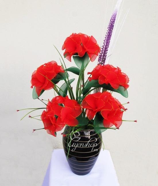 Hoa lụa, hoa giả Uyên shop, Cách tạo chậu hoa voan nghệ thuật lãng mạn