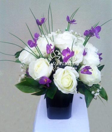 Hoa lụa, hoa giả Uyên shop, Hoa Hồng Trắng