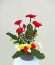 Hoa lụa, hoa giả Uyên shop, Hoa Đồng Tiền đỏ