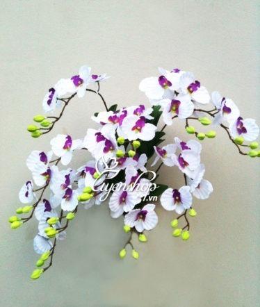 Hoa lụa, hoa giả Uyên shop, Lan treo tường trắng