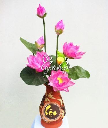 Hoa lụa, hoa giả Uyên shop, Hoa sen