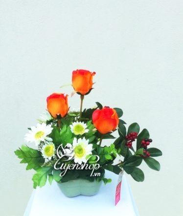 Hoa lụa, hoa giả Uyên shop, Hoa trái tim
