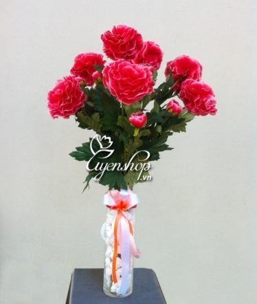 Hoa lụa, hoa giả Uyên shop, Hoa thược dược
