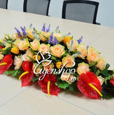 Hoa lụa, hoa giả Uyên shop, Hoa bàn họp
