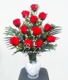 Hoa lụa, hoa giả Uyên shop, Hoa hồng đỏ