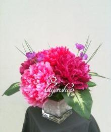 Hoa lụa, hoa giả Uyên shop, Mẫu đơn để bàn