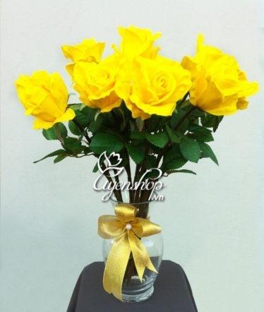 Hoa lụa, hoa giả Uyên shop, Hoa hồng Vàng