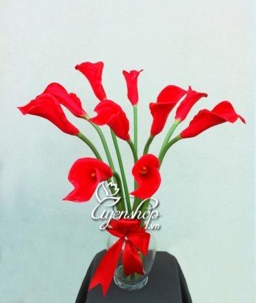 Hoa lụa, hoa giả Uyên shop, Hoa Rum đỏ