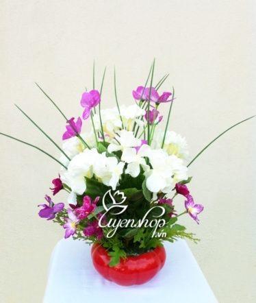 Hoa lụa, hoa giả Uyên shop, Tú cầu trắng
