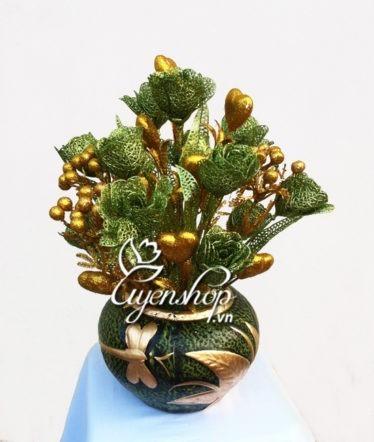 Hoa lụa, hoa giả Uyên shop, Hoa Hồng Ánh Kim