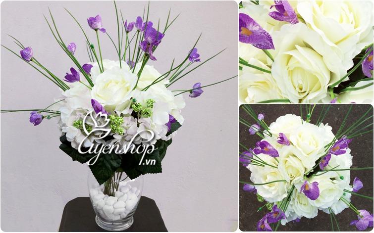 hoa hong trang - tong the - uyenshop