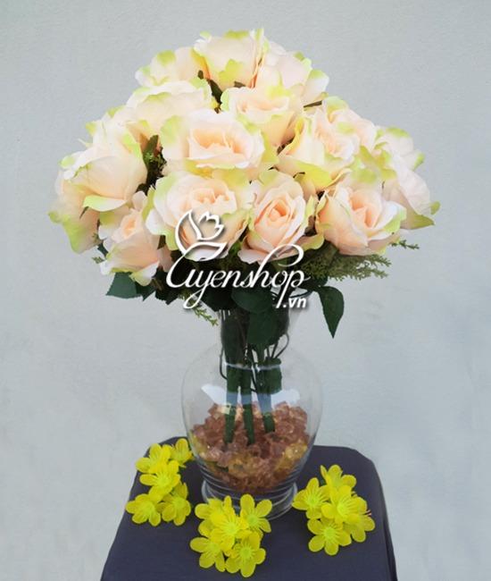 hoa lụa - hoa hồng - uyenshop