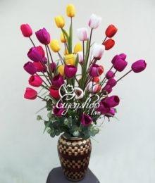 Hoa lụa, hoa giả Uyên shop, Hoa Tulip nhiều mầu