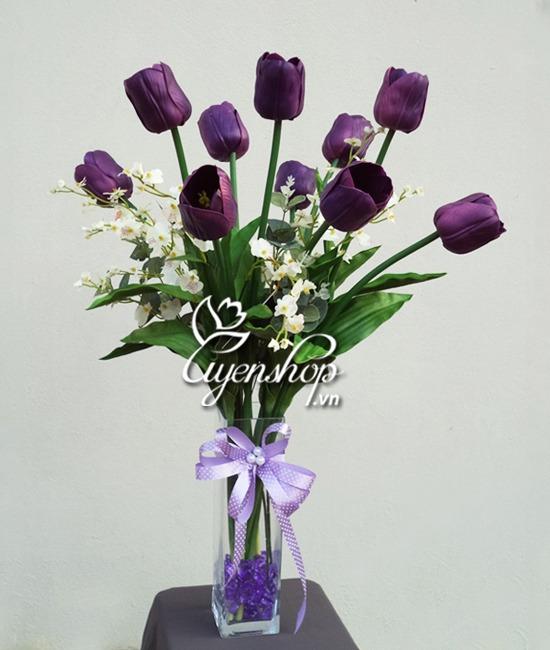 tulip tim - hoa lua - uyenshop