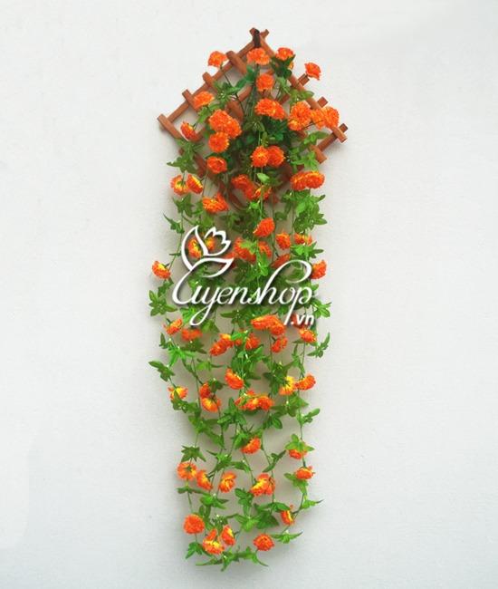 hoa treo tuong - hoa lua - uyenshop - mau cam