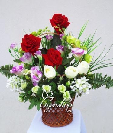 Hoa lụa, hoa giả Uyên shop, Giỏ hoa