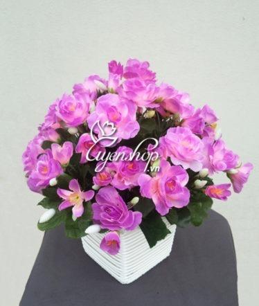 Hoa lụa, hoa giả Uyên shop, Sắc tím hồng