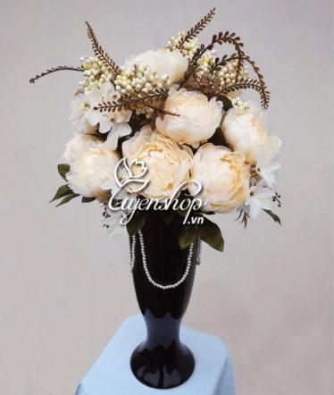 Hoa lụa, hoa giả Uyên shop, Hoa Hồng Ren