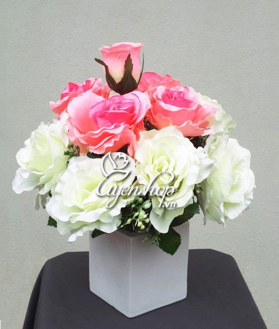 hoa lụa - hoa hồng để bàn - uyenshop