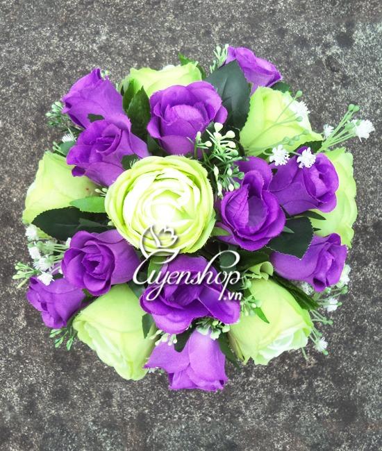 hoa hồng xanh 02- hoa lụa - uyenshop