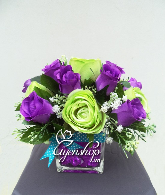hoa hồng xanh - hoa lụa - uyenshop