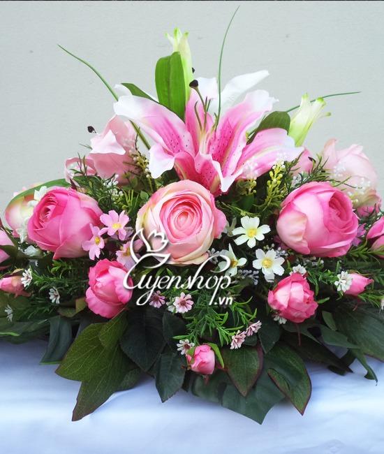 hoa bàn họp - hoa lụa - uyenshop