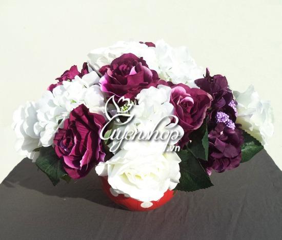 hoa hong de ban - hoa lua uyenshop