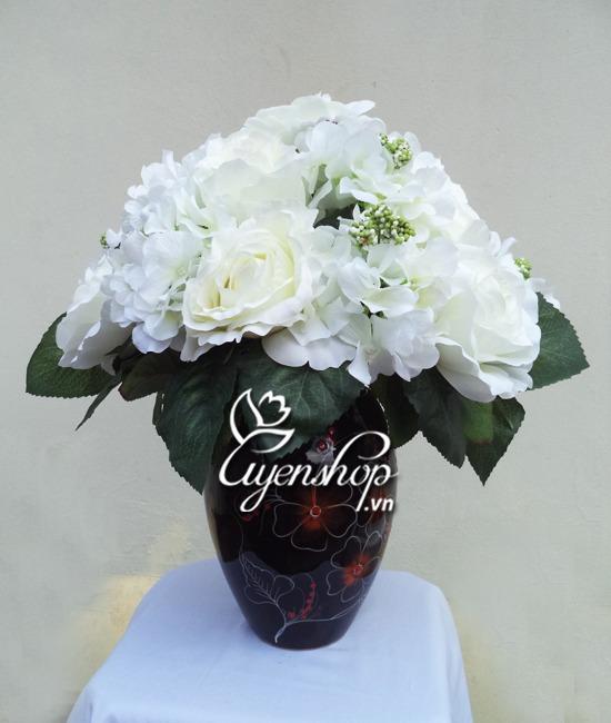 hoa hong trang - hoa lua uyenshop