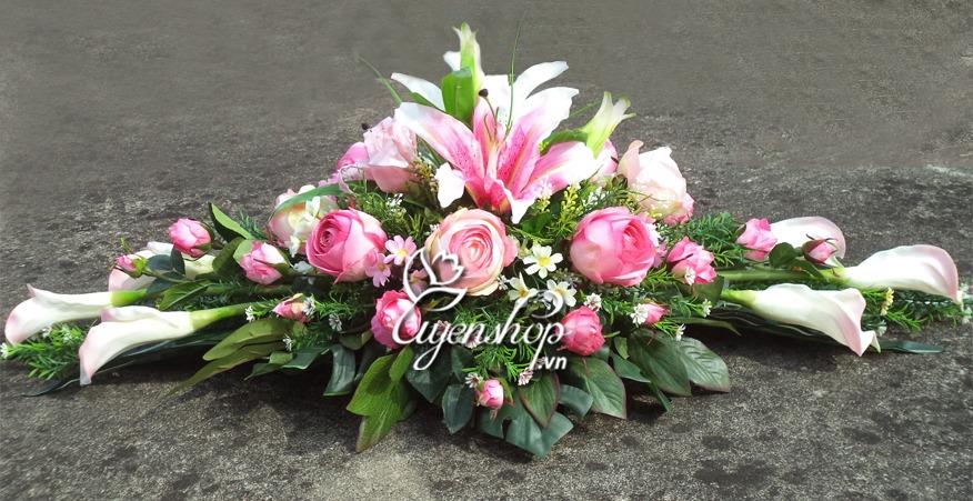 hoa lụa - hoa bàn họp - uyenshop