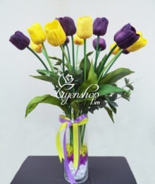 Hoa lụa, hoa giả Uyên shop, Bình hoa Tulip