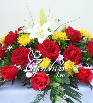 Hoa lụa, hoa giả Uyên shop, Hoa bàn họp lớn