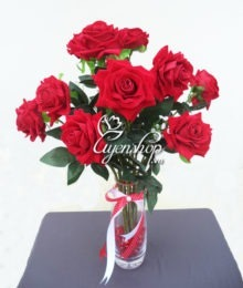 Hoa lụa, hoa giả Uyên shop, Hoa Hồng Nhung