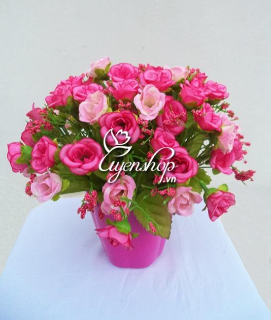 hoa lụa - hồng tỉ muội - uyenshop