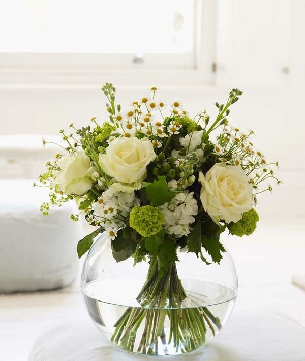 Hoa lụa, hoa giả Uyên shop, Cách cắm hoa sắc trắng và xanh đẹp dịu dàng tinh tế