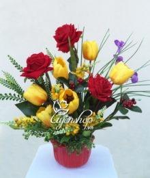 Hoa lụa, hoa giả Uyên shop, Hồng khoe sắc