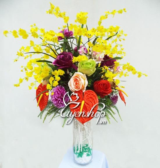 hoa nghe thuat - thuy tinh trong - hoa lua uyenshop
