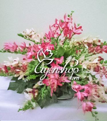 Hoa lụa, hoa giả Uyên shop, Đĩa hoa Lan