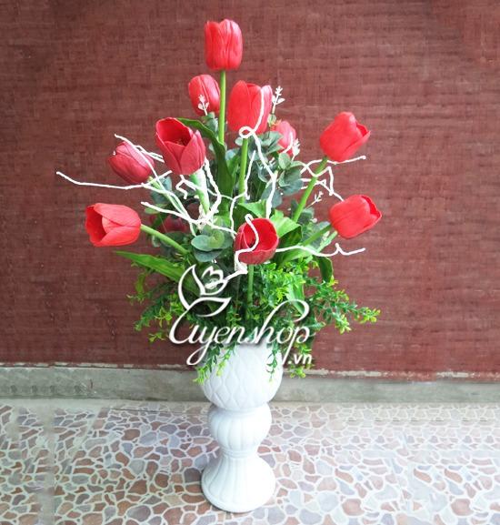 binh hoa tulip - hoa lua - uyenshop