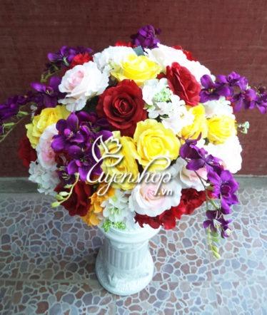 Hoa lụa, hoa giả Uyên shop, Bình hồng lớn