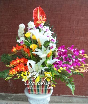 Hoa lụa, hoa giả Uyên shop, Giỏ hoa xinh